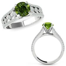 1.25 Ct Green Diamond Beautiful Solitaire Halo Wedding Ring Band 14K White Gold