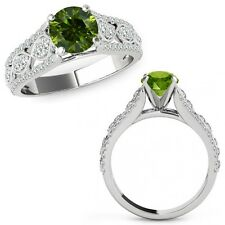1 Ct Green Diamond Lovely Solitaire Halo Wedding Fancy Ring Band 14K White Gold