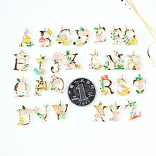 A-Z Floral Metal Alloy Letter Alphabet Charms For DIY Jewelry Bracelet Necklace