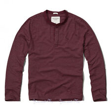 NEW ABERCROMBIE & FITCH L/S Shirt Men * A&F Jay Range Henley Tee Burgundy Stripe