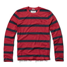 NEW ABERCROMBIE & FITCH for MEN A&F Tupper Lake Crew Tee Red/Navy Stripe S-XXL