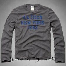 ABERCROMBIE FITCH KIDS A&F Boys Classic Logo Long Sleeve Tee T-Shirt Gray M L XL