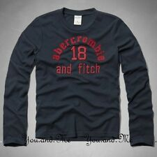 ABERCROMBIE FITCH KIDS A&F Boys Classic Logo Long Sleeve Tee T-Shirt Navy M L XL