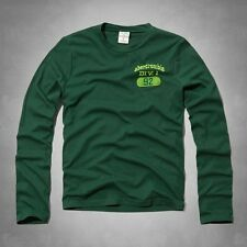 ABERCROMBIE FITCH KIDS A&F Boys Classic Logo Long Sleeve Tee T-Shirt Green M-XL