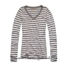 NEW HOLLISTER L/S V NECK T SHIRT WOMEN Beacon's Beach Slim Fit Tee Grey XS S M L