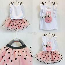 Toddler Baby Girls Outfits T-shirt Tops Tutu Skirt Dress Clothes 2PCS Set 2-7Y