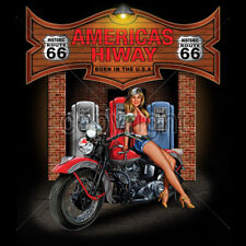 Historic Route 66 Americas Highway Motorcycle Biker Pin Up Girl T-Shirt Tee