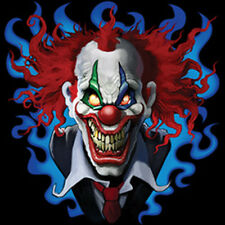 Crazy Scary Evil Clown Smiling Blue & Red Design T-Shirt Tee