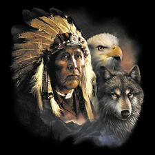 Native American Indian Chief Animal Spirit Wolf Eagle Cool T-Shirt Tee