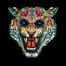 Tiger Face Painted Trippy Sugar Skull Day Of The Dead T-Shirt Tee