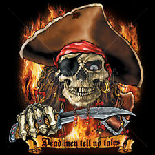 Dead Men Tell No Tales Burning One Eye Pirate Skull Dagger T-Shirt Tee