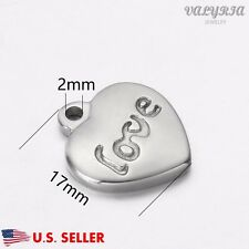 Wholesale Stainless Steel Love Engraved Heart Charm Pendant Supplies 17x15mm