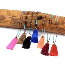Boho Beaded Long Chains Statement Necklace Handmade Tassels Nylon Pendant