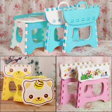 Cute Cartoon Portable Plastic Folding Step Stool Home Bathroom Kitchen Footstool