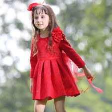 Girls Flower Skater Party Dress Christmas Red Princess Pageant Wedding Clothes