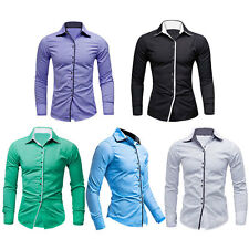 NEW COMMING! Mens Luxury Casual Slim Fit Long Sleeve Casual Dress Shirts Tops