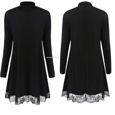 Autunm Winter Women Ladies Turtleneck Long Sleeve Lace Trim Hem Tunic Slim Dress