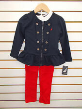 Toddler Girls Nautica $74.50 3pc Red, Navy, & Off-White Outfit Size 4T