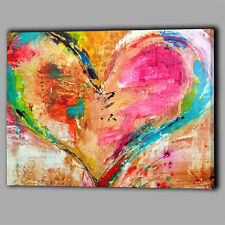 Abstract Multi Colour Canvas Heart Paint Wall Art Print Framed A1 Large Picture