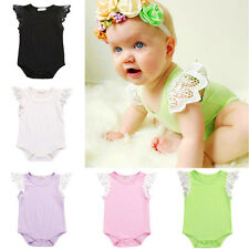 One Piece Baby Girls Infants Romper Lace Wing Short Sleeve Photo Dress Bodysuit
