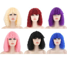 Women Medium Curly Colorful Wigs Full Bangs Soft Spiral Perms Hair Cosplay
