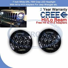 Pair CREE LED Headlight for Jeep Wrangler 75W 7In White DRL Hi/Lo Beam Combo OR