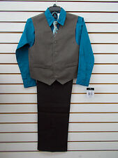 Infant & Boys Young Kings$45-$65 4pc Turquoise & Brown Vest Suit Size 3/6mo - 20