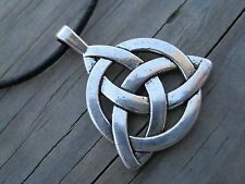 CELTIC KNOT PENDANT LEATHER NECKLACE, HANDCRAFTED, SILVER TONE, UNISEX