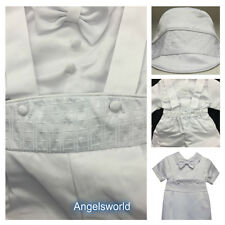 Baby Boy Christening Baptism white Outfit/Suspender/Cross/3 pieces Outfit/XS-XL