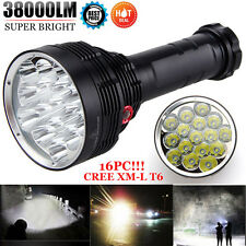 38000 Lumens  Waterproof 16x XM-L T6 LED Flashlight 3 Mode Bright Torch Light