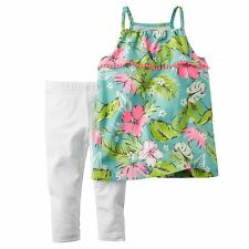 NWT Carter's Baby/Toddler Girls' Tropical Picot Ruffle Tank Top & Leggings 2T