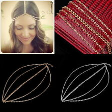 Women Metal Head Curb Tassel Chain Jewelry Headband Head Piece Hair Band  D#
