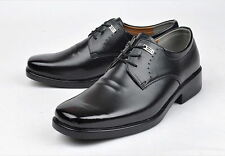 BENETO Black Faux Leather 3-Hole Casual Formal Dress Shoes for Men