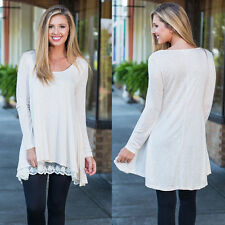 Women's Long Sleeve Loose Lace Hem Tunic Top TShirt Dress Long Blouse Pull Over