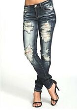 cutout JEANS Ripped Distressed Destroyed Dark Skinny Slim Denim Nina Machine