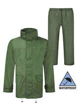 Mens Fortress Hooded Jacket & Trousers Set Water Resistant & Windproof in Green