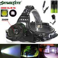 5000Lm Zoomable Headlamp CREE XM-L T6 LED Headlight 18650 Light+ Charger Battery