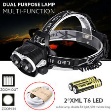 8000LM 2X XM-L T6 Headlamp Head Light LED USB Rechargeable Headlight + Battery