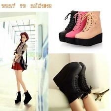 Chic Women Gothic Punk Ankle Boot ROCK Creeper Lace Up Platform Shoes All US Sz