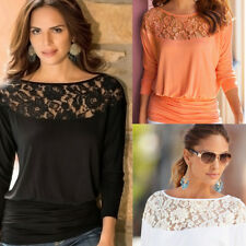 Fashion Womens Ladies Long Sleeve Lace T Shirt Blouse Top Casual Loose Tee Tops