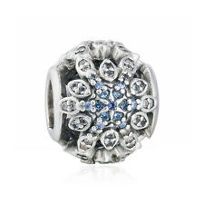 Genuine S925 Silver Crystalized Snowflakes Blue Crystals & CZ Charm