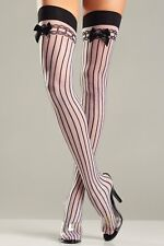 sexy BE WICKED sheer OPAQUE vertical STRIPES satin BOWS thigh HIGHS stockings