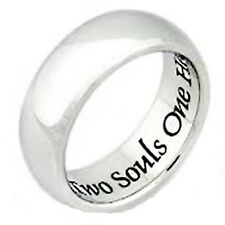 Stainless Steel Two Souls One Heart Men's and Women's Poesy Rings, Promise Ring