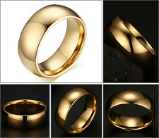 8mm Men's Tungsten Carbide Gold Plated Classic Domed Shape Wedding band Ring