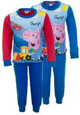 NEW Boys Official Peppa Pig 'George' 2 Piece Red / Blue Long Pyjama Set Ages 2-6