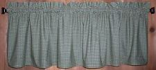 Green and Tan Check Homespun Valances Tiers Primitive Country Curtains Kitchen