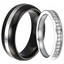 2 PC His Hers Wedding Ring Set Men's Black Tungsten Women's Stainless Steel Band