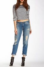 NWT GENETIC DENIM Alexa Blue Cotton Distroyed Cropp Jeans Distressed $235