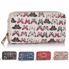 New Single Zip Faux Leather Butterfly Women Purse Designer Ladies Girl Wallet UK