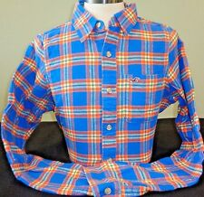 NEW HOLLISTER L/S BUTTON DOWN SHIRT,BLUE/ORANGE PLAID,MEDIUM,ABERCROMBIE & FITCH